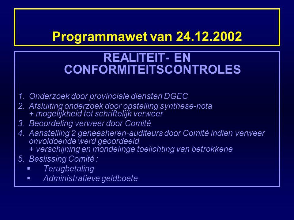 Programmawet van 24.12.2002 REALITEIT- EN CONFORMITEITSCONTROLES 1.Onderzoek door provinciale diensten DGEC 2.Afsluiting onderzoek door opstelling syn