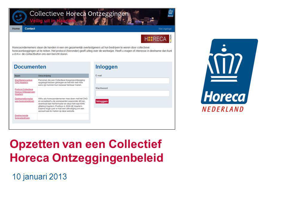 Opzetten van een Collectief Horeca Ontzeggingenbeleid 10 januari 2013