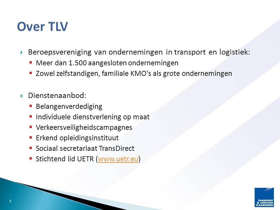  Beroepsvereniging van ondernemingen in transport en logistiek:  Meer dan 1.500 aangesloten ondernemingen  Zowel zelfstandigen, familiale KMO s als grote ondernemingen  Dienstenaanbod:  Belangenverdediging  Individuele dienstverlening op maat  Verkeersveiligheidscampagnes  Erkend opleidingsinstituut  Sociaal secretariaat TransDirect  Stichtend lid UETR (www.uetr.eu)www.uetr.eu 2