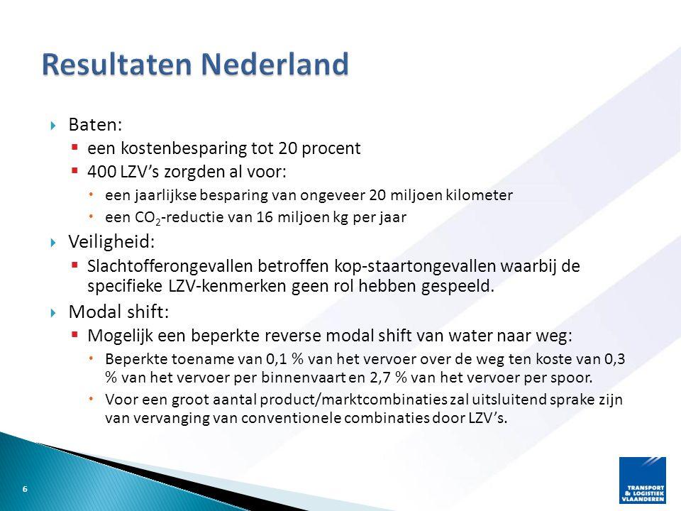  Baten:  een kostenbesparing tot 20 procent  400 LZV's zorgden al voor:  een jaarlijkse besparing van ongeveer 20 miljoen kilometer  een CO 2 -re