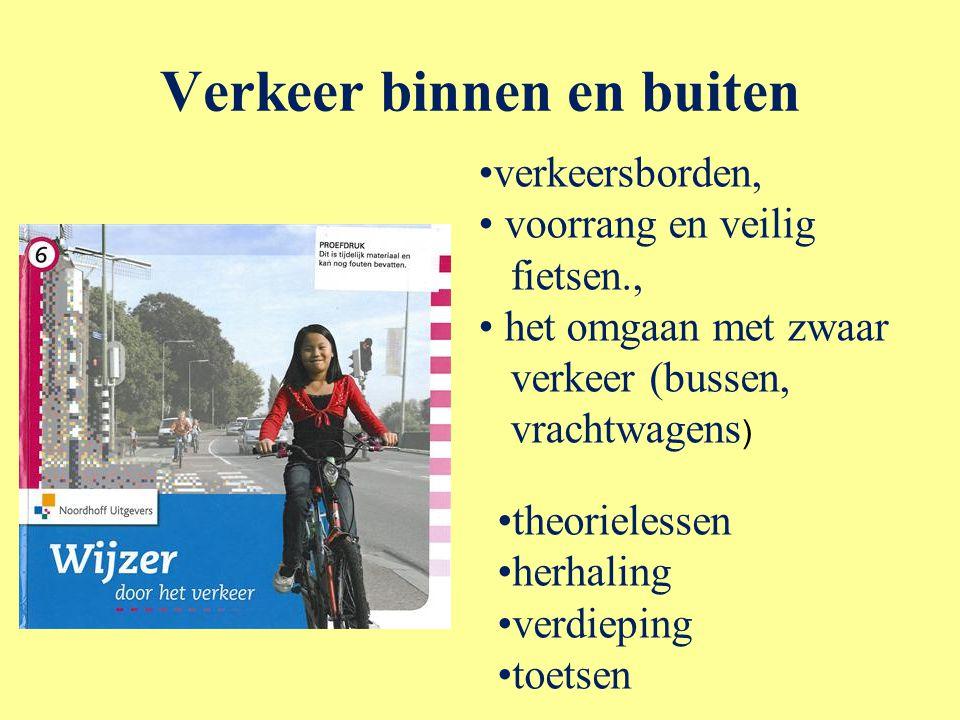 Verkeer binnen en buiten verkeersborden, voorrang en veilig fietsen., het omgaan met zwaar verkeer (bussen, vrachtwagens ) theorielessen herhaling ver