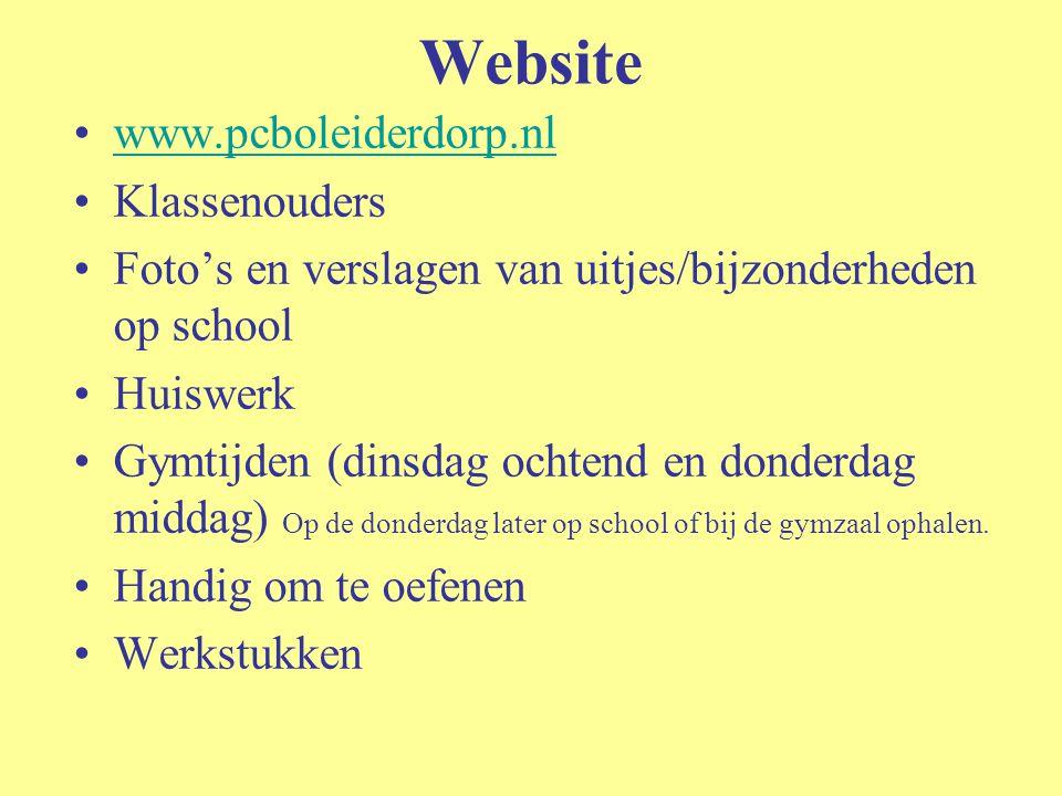Website www.pcboleiderdorp.nl Klassenouders Foto's en verslagen van uitjes/bijzonderheden op school Huiswerk Gymtijden (dinsdag ochtend en donderdag m