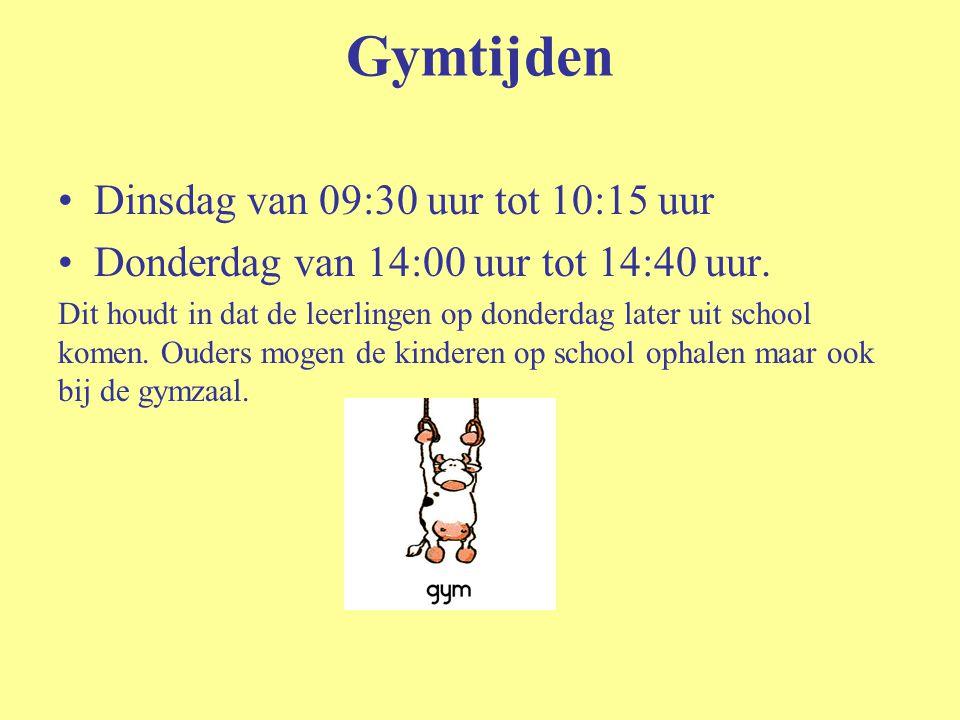 Gymtijden Dinsdag van 09:30 uur tot 10:15 uur Donderdag van 14:00 uur tot 14:40 uur. Dit houdt in dat de leerlingen op donderdag later uit school kome