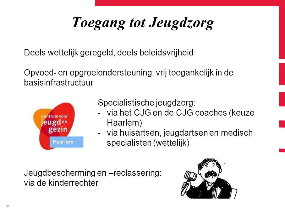 Toegang tot Jeugdzorg Deels wettelijk geregeld, deels beleidsvrijheid Opvoed- en opgroeiondersteuning: vrij toegankelijk in de basisinfrastructuur Specialistische jeugdzorg: -via het CJG en de CJG coaches (keuze Haarlem) -via huisartsen, jeugdartsen en medisch specialisten (wettelijk) Jeugdbescherming en –reclassering: via de kinderrechter 4
