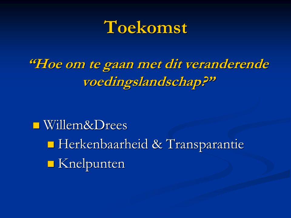 Toekomst Willem&Drees Willem&Drees Herkenbaarheid & Transparantie Herkenbaarheid & Transparantie Knelpunten Knelpunten Hoe om te gaan met dit veranderende voedingslandschap