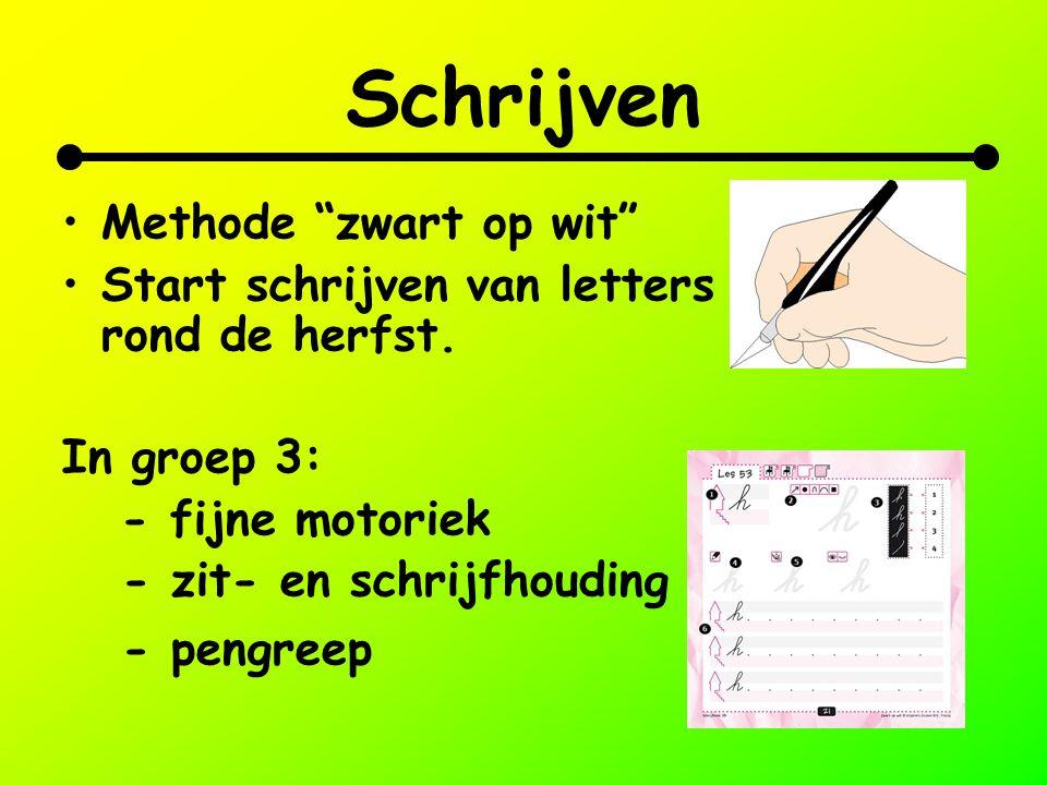 """Schrijven Methode """"zwart op wit"""" Start schrijven van letters rond de herfst. In groep 3: - fijne motoriek - zit- en schrijfhouding - pengreep"""