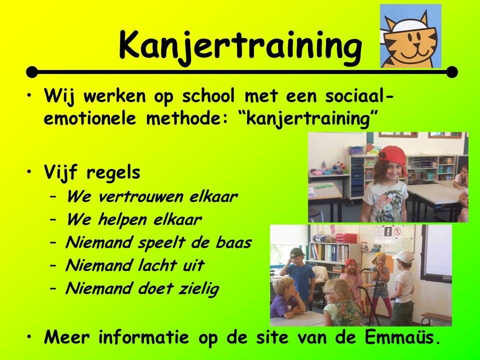 """Kanjertraining Wij werken op school met een sociaal- emotionele methode: """"kanjertraining"""" Vijf regels –We vertrouwen elkaar –We helpen elkaar –Niemand"""