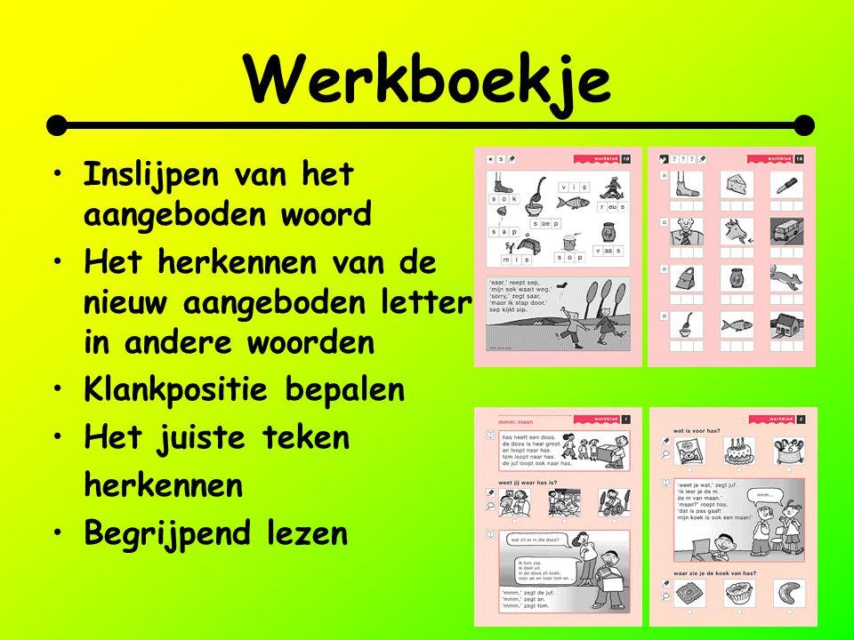 Werkboekje Inslijpen van het aangeboden woord Het herkennen van de nieuw aangeboden letter in andere woorden Klankpositie bepalen Het juiste teken her