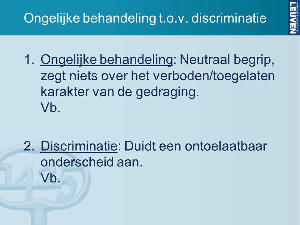 Ongelijke behandeling t.o.v. discriminatie 1.Ongelijke behandeling: Neutraal begrip, zegt niets over het verboden/toegelaten karakter van de gedraging