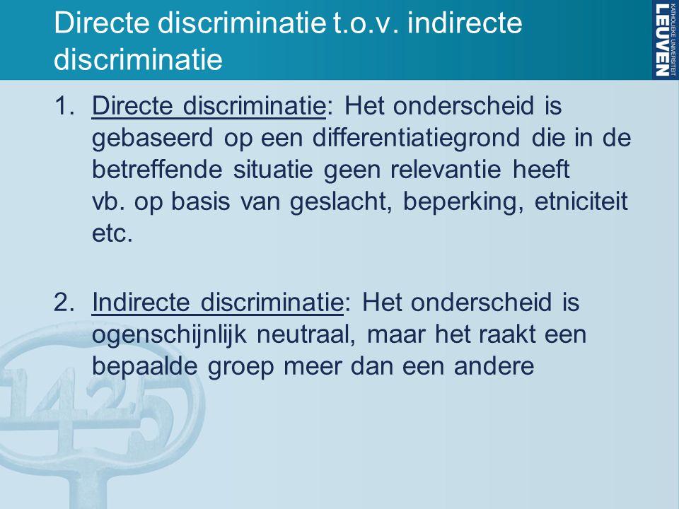 Directe discriminatie t.o.v. indirecte discriminatie 1.Directe discriminatie: Het onderscheid is gebaseerd op een differentiatiegrond die in de betref