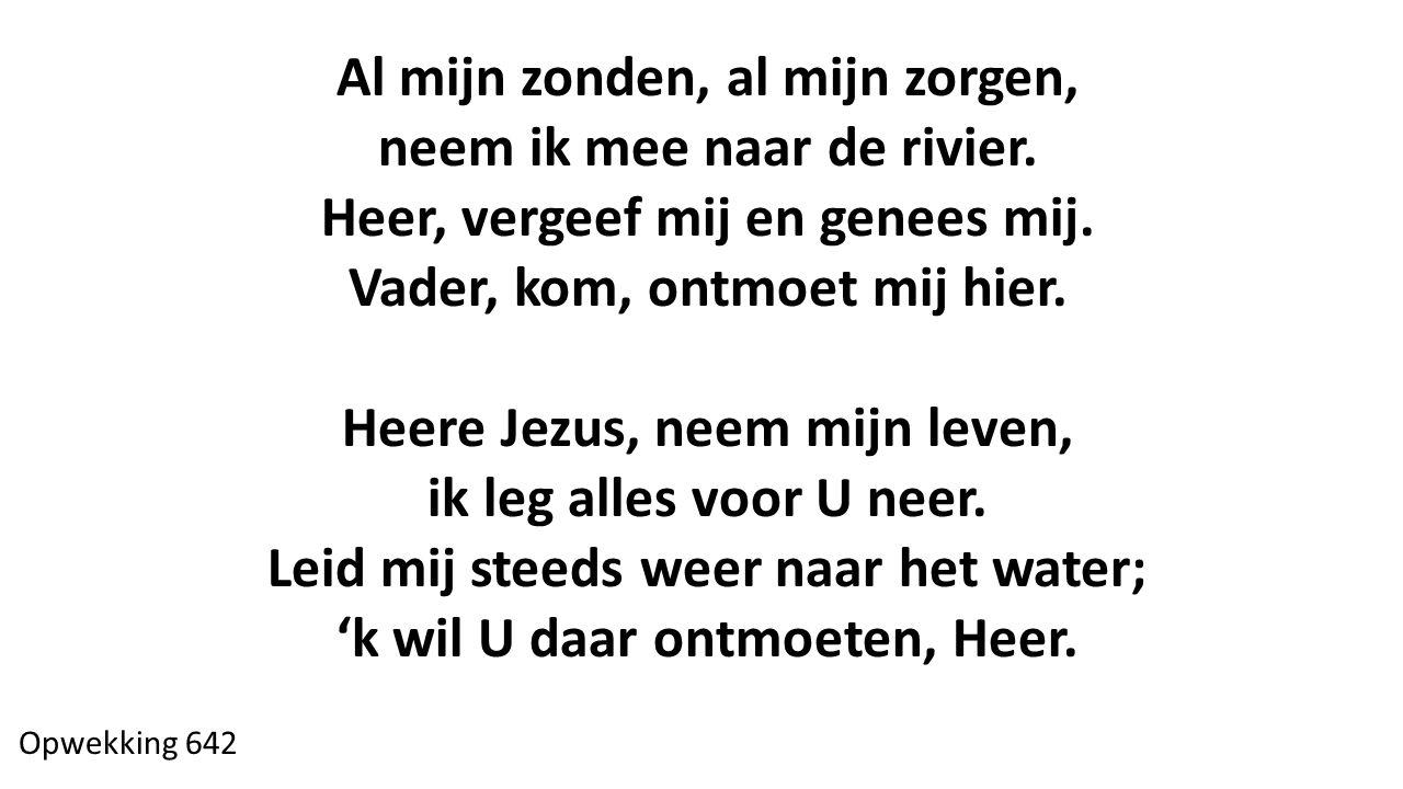 Al mijn zonden, al mijn zorgen, neem ik mee naar de rivier. Heer, vergeef mij en genees mij. Vader, kom, ontmoet mij hier. Heere Jezus, neem mijn leve