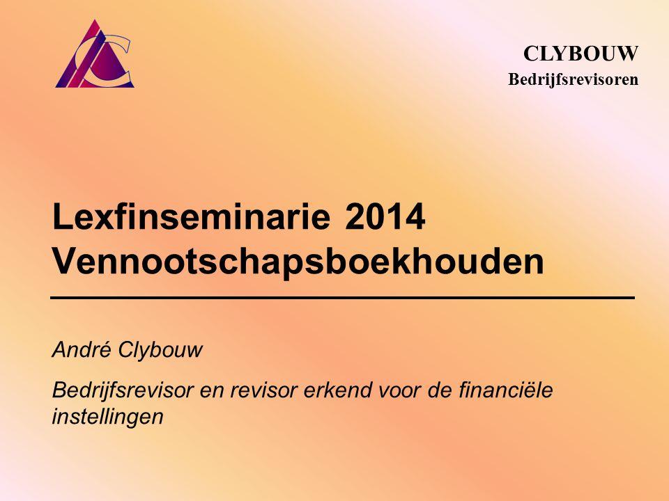 Lexfinseminarie 2014 Vennootschapsboekhouden CLYBOUW Bedrijfsrevisoren André Clybouw Bedrijfsrevisor en revisor erkend voor de financiële instellingen