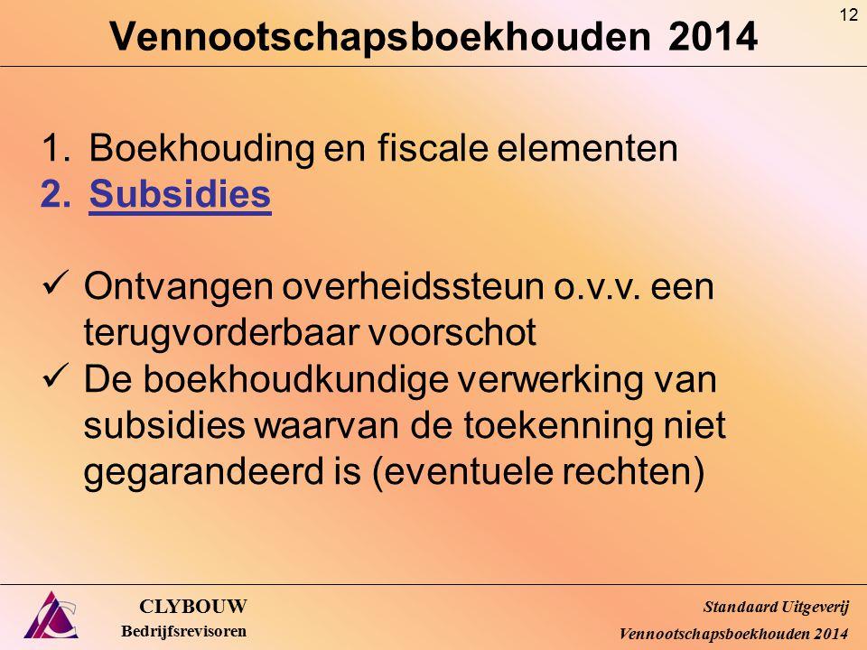 Vennootschapsboekhouden 2014 CLYBOUW Bedrijfsrevisoren 1.Boekhouding en fiscale elementen 2.Subsidies Ontvangen overheidssteun o.v.v. een terugvorderb