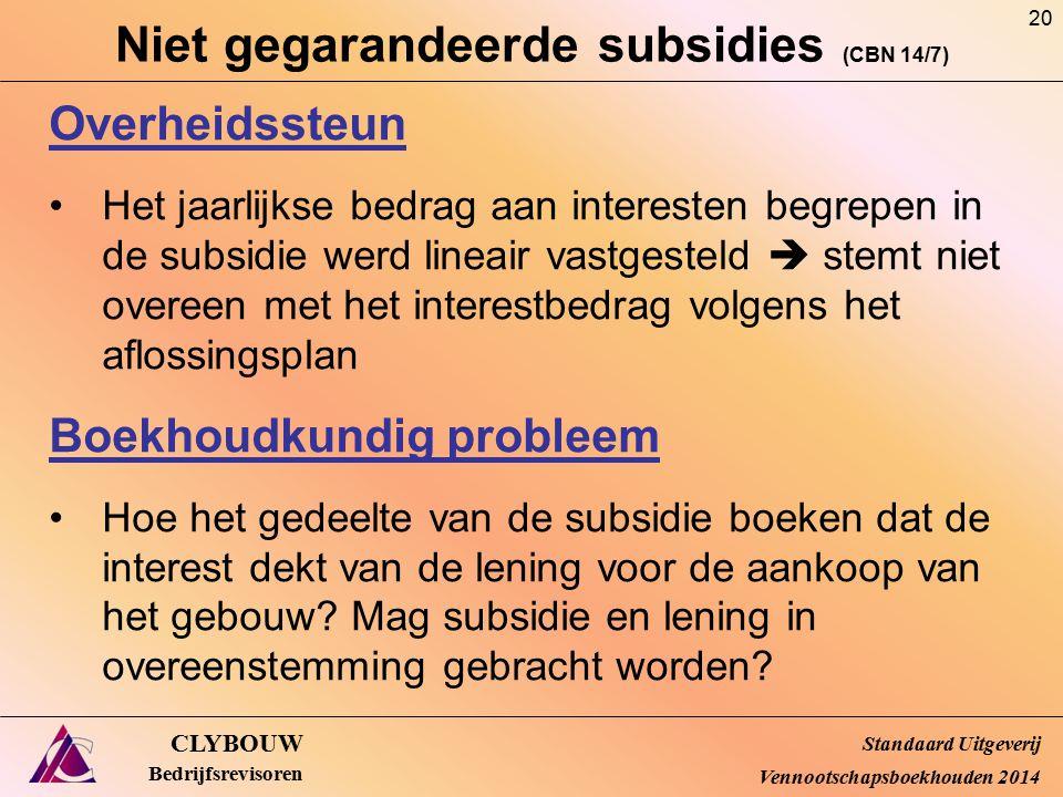 Niet gegarandeerde subsidies (CBN 14/7) CLYBOUW Bedrijfsrevisoren Overheidssteun Het jaarlijkse bedrag aan interesten begrepen in de subsidie werd lin