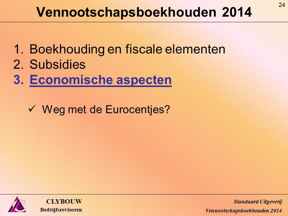 Vennootschapsboekhouden 2014 CLYBOUW Bedrijfsrevisoren 1.Boekhouding en fiscale elementen 2.Subsidies 3.Economische aspecten Weg met de Eurocentjes? S