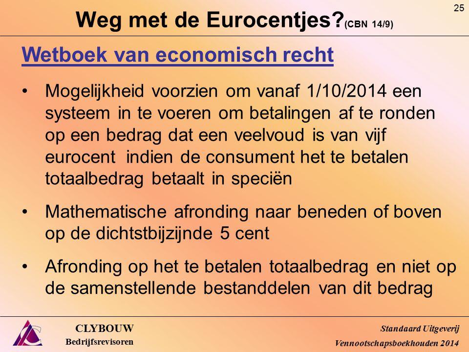 Weg met de Eurocentjes? (CBN 14/9) CLYBOUW Bedrijfsrevisoren Wetboek van economisch recht Mogelijkheid voorzien om vanaf 1/10/2014 een systeem in te v