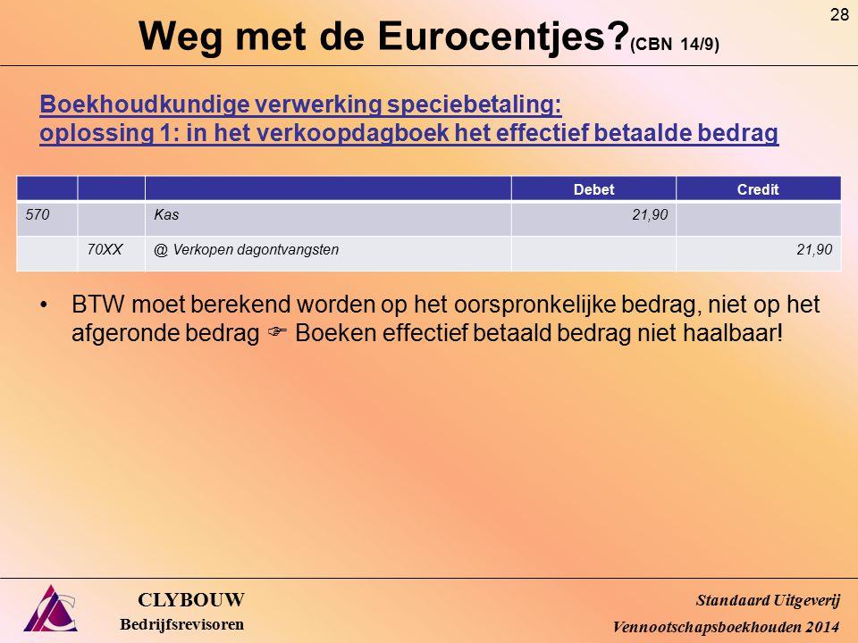 Weg met de Eurocentjes? (CBN 14/9) CLYBOUW Bedrijfsrevisoren Boekhoudkundige verwerking speciebetaling: oplossing 1: in het verkoopdagboek het effecti