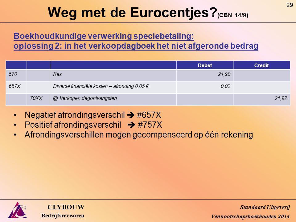 Weg met de Eurocentjes? (CBN 14/9) CLYBOUW Bedrijfsrevisoren Boekhoudkundige verwerking speciebetaling: oplossing 2: in het verkoopdagboek het niet af