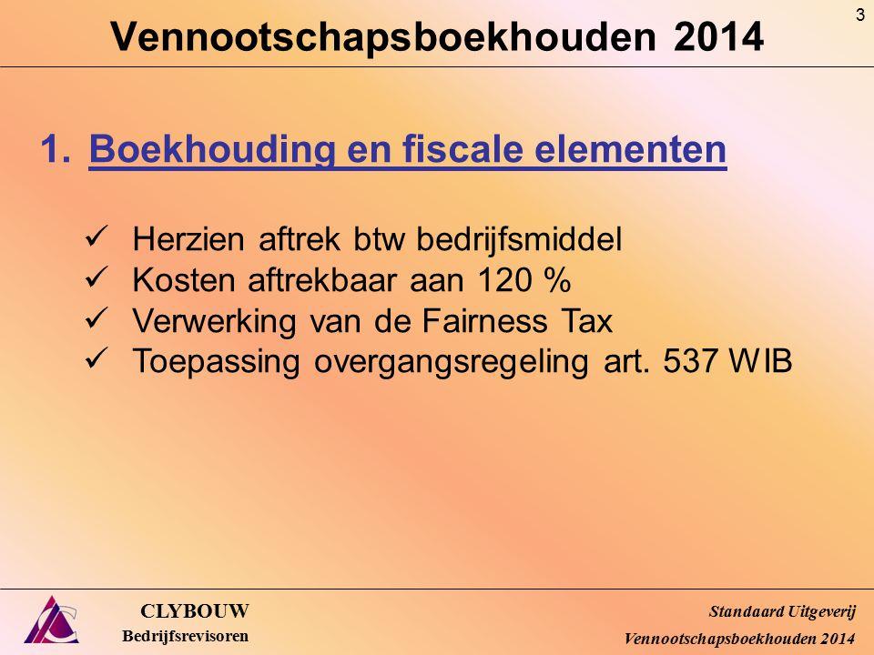 Mutaties EV VMM-onderneming (CBN 14/03) CLYBOUW Bedrijfsrevisoren Praktische uitwerking (31/12/20X4) Onderneming A – Geconsolideerd (enkel B) op 31/12/20X4 Standaard Uitgeverij Vennootschapsboekhouden 2014 € Eerste consolidatieverschil290 Afschrijving 20X3-58 Afschrijving 20X4-58 Op Actief 31/12/20X4174 € Aandeel A in resultaat B 2013 (1/12/20X3-31/12/20X3)80 Aandeel A in resultaat B 2014200 Op passief 31/12/20X4280 € Herwaardering binnen B500 Aandeel A in de herwaardering 20%  nr Passief (niet via RR!)100 74