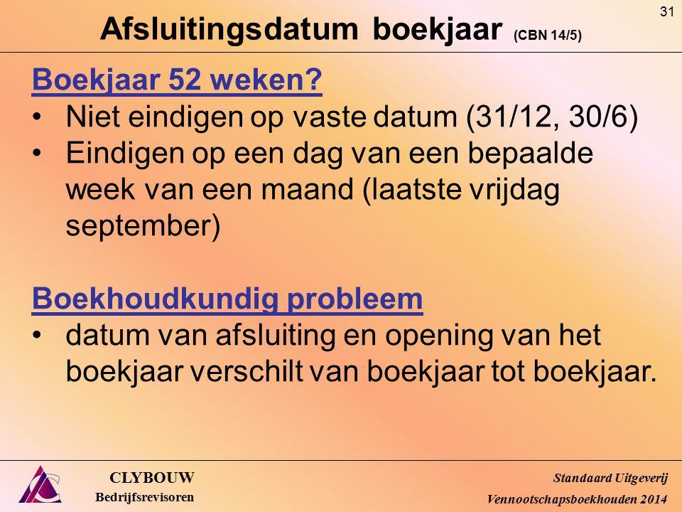 Afsluitingsdatum boekjaar (CBN 14/5) CLYBOUW Bedrijfsrevisoren Boekjaar 52 weken? Niet eindigen op vaste datum (31/12, 30/6) Eindigen op een dag van e