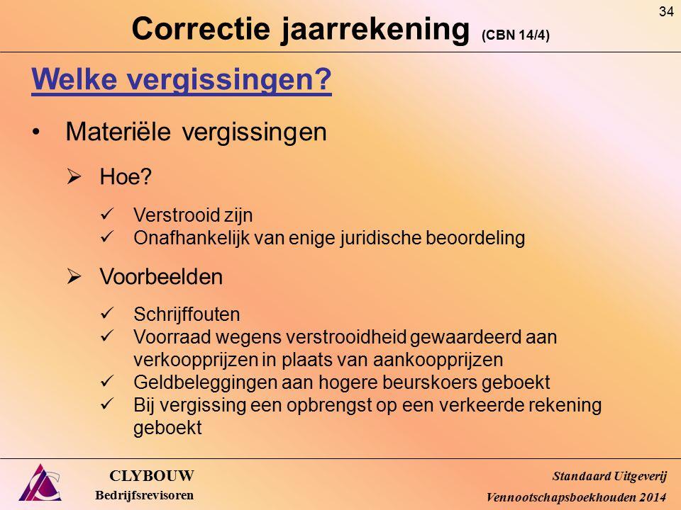 Correctie jaarrekening (CBN 14/4) CLYBOUW Bedrijfsrevisoren Welke vergissingen? Materiële vergissingen  Hoe? Verstrooid zijn Onafhankelijk van enige