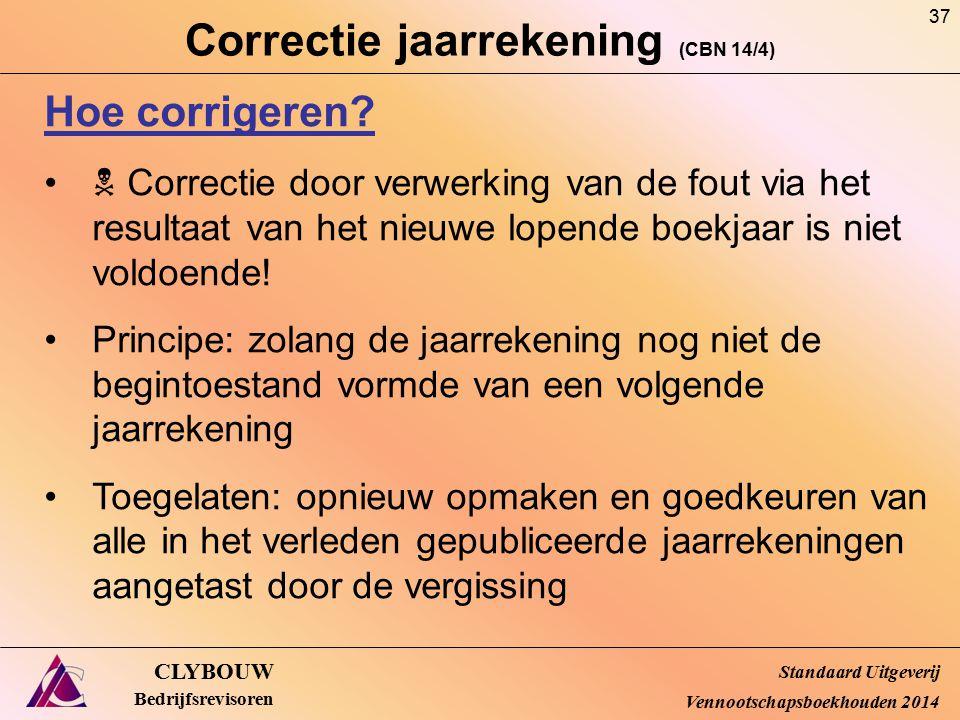 Correctie jaarrekening (CBN 14/4) CLYBOUW Bedrijfsrevisoren Hoe corrigeren?  Correctie door verwerking van de fout via het resultaat van het nieuwe l