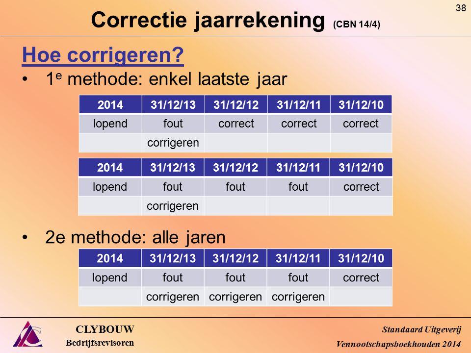 Correctie jaarrekening (CBN 14/4) CLYBOUW Bedrijfsrevisoren Hoe corrigeren? 1 e methode: enkel laatste jaar 2e methode: alle jaren Standaard Uitgeveri