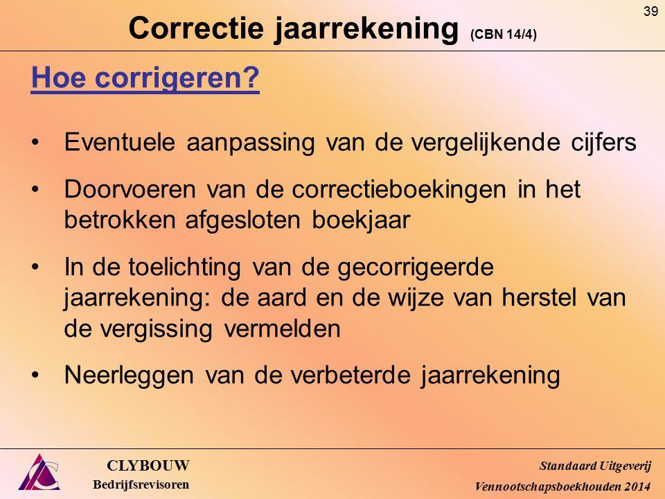 Correctie jaarrekening (CBN 14/4) CLYBOUW Bedrijfsrevisoren Hoe corrigeren? Eventuele aanpassing van de vergelijkende cijfers Doorvoeren van de correc