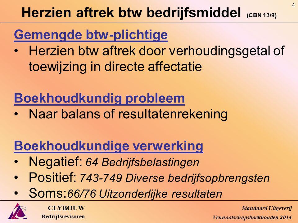 Belgische bijkantoren – munt (CBN 13/10) CLYBOUW Bedrijfsrevisoren Praktische implicaties en procedure Aanvraag tot afwijking indienen vóór afsluitdatum boekjaar waarvoor de afwijking wordt gevraagd Interne jaarrekening van het laatst afgesloten boekjaar van het bijkantoor bij dossier Bij toestemming: omzetting op datum van de openingsbalans en tegen slotkoers Afwijking voor 3 opeenvolgende boekjaren (behalve in 1 e jaar activiteit: dan enkel 1 e jaar) Omschakeling functionele munt = nieuwe afwijkings- aanvraag behoudens bij overgang naar EUR Standaard Uitgeverij Vennootschapsboekhouden 2014 55