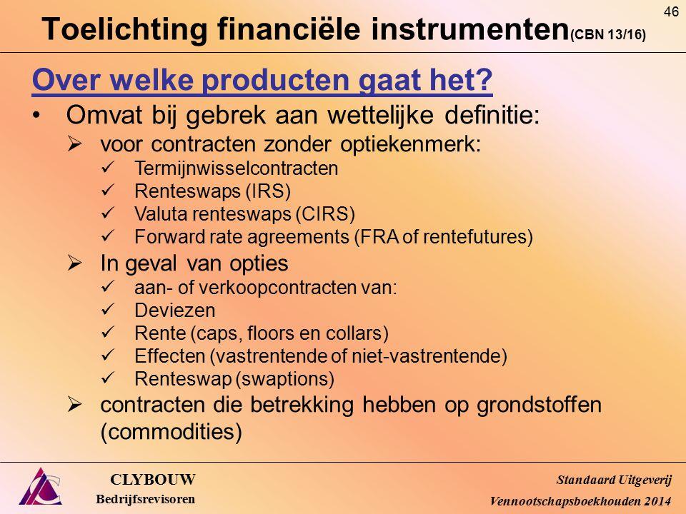 Toelichting financiële instrumenten (CBN 13/16) CLYBOUW Bedrijfsrevisoren Over welke producten gaat het? Omvat bij gebrek aan wettelijke definitie: 
