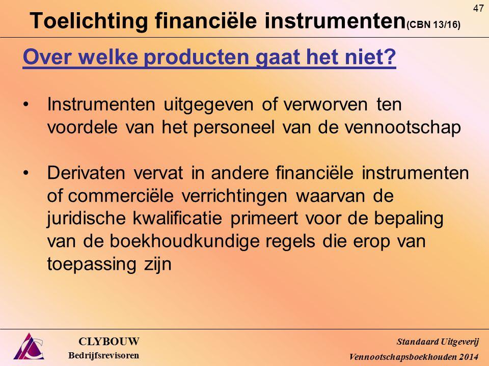 Toelichting financiële instrumenten (CBN 13/16) CLYBOUW Bedrijfsrevisoren Over welke producten gaat het niet? Instrumenten uitgegeven of verworven ten