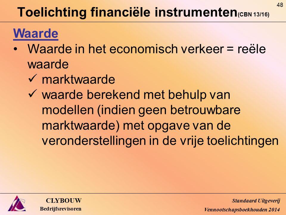 Toelichting financiële instrumenten (CBN 13/16) CLYBOUW Bedrijfsrevisoren Waarde Waarde in het economisch verkeer = reële waarde marktwaarde waarde be