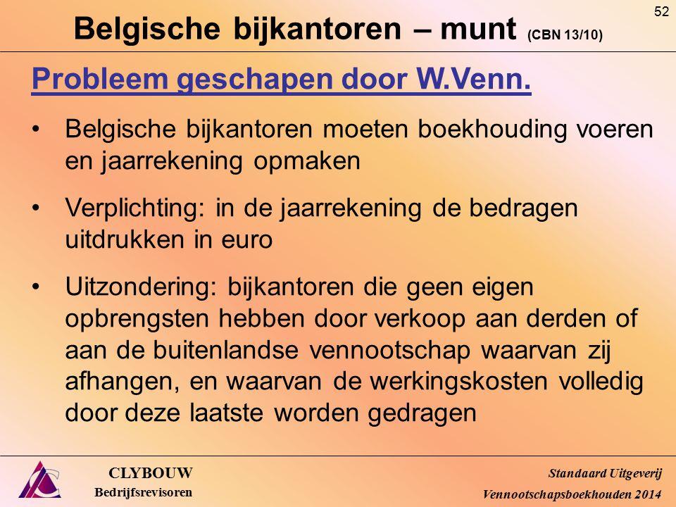 Belgische bijkantoren – munt (CBN 13/10) CLYBOUW Bedrijfsrevisoren Probleem geschapen door W.Venn. Belgische bijkantoren moeten boekhouding voeren en