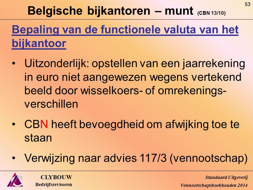 Belgische bijkantoren – munt (CBN 13/10) CLYBOUW Bedrijfsrevisoren Bepaling van de functionele valuta van het bijkantoor Uitzonderlijk: opstellen van