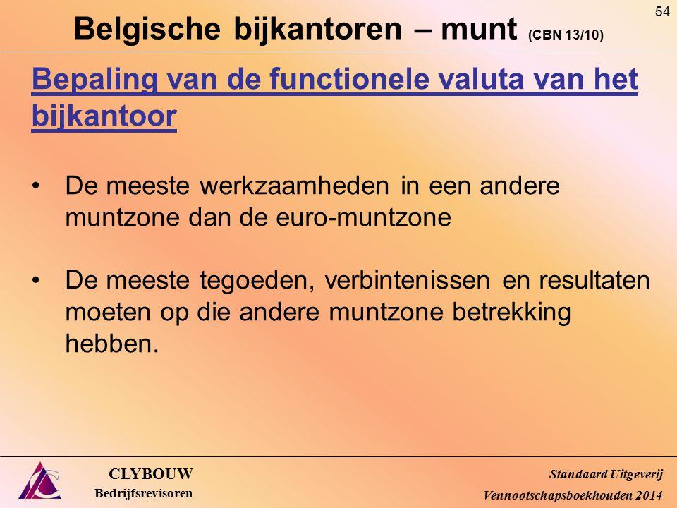 Belgische bijkantoren – munt (CBN 13/10) CLYBOUW Bedrijfsrevisoren Bepaling van de functionele valuta van het bijkantoor De meeste werkzaamheden in ee