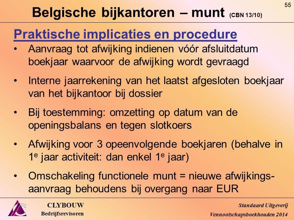 Belgische bijkantoren – munt (CBN 13/10) CLYBOUW Bedrijfsrevisoren Praktische implicaties en procedure Aanvraag tot afwijking indienen vóór afsluitdat