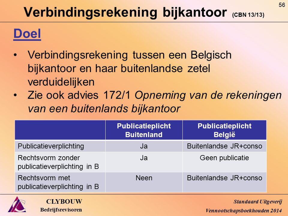 Verbindingsrekening bijkantoor (CBN 13/13) CLYBOUW Bedrijfsrevisoren Doel Verbindingsrekening tussen een Belgisch bijkantoor en haar buitenlandse zete