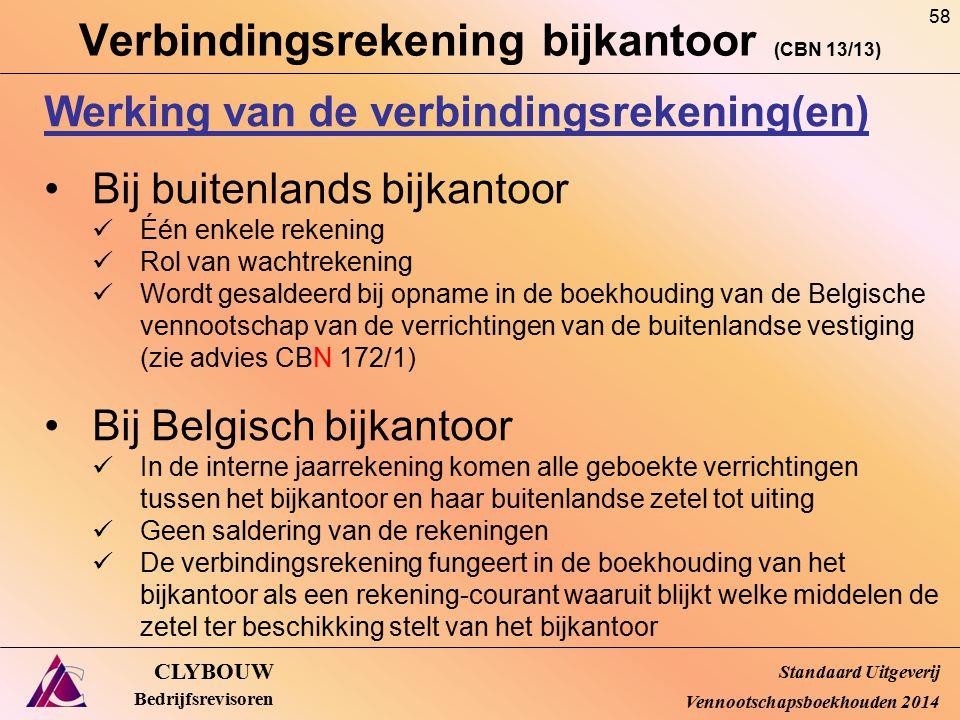 Verbindingsrekening bijkantoor (CBN 13/13) CLYBOUW Bedrijfsrevisoren Werking van de verbindingsrekening(en) Bij buitenlands bijkantoor Één enkele reke