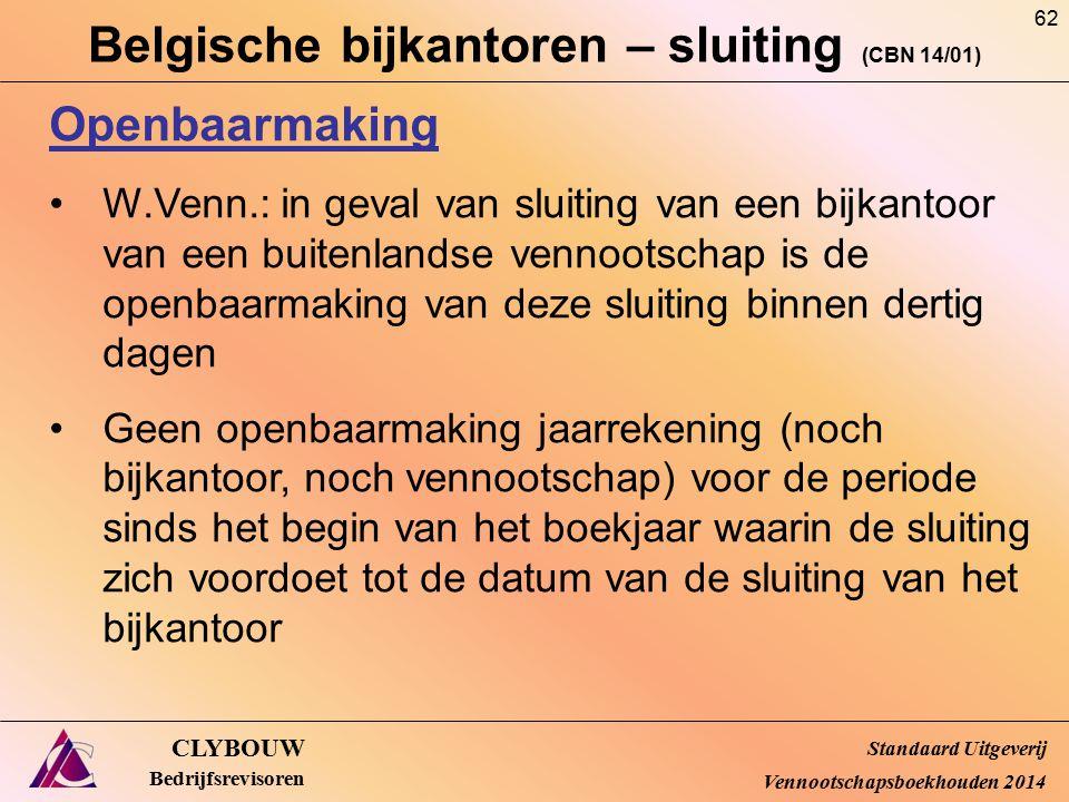 Belgische bijkantoren – sluiting (CBN 14/01) CLYBOUW Bedrijfsrevisoren Openbaarmaking W.Venn.: in geval van sluiting van een bijkantoor van een buiten