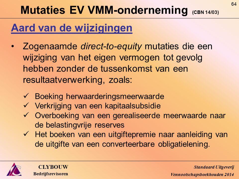 Mutaties EV VMM-onderneming (CBN 14/03) CLYBOUW Bedrijfsrevisoren Aard van de wijzigingen Zogenaamde direct-to-equity mutaties die een wijziging van h