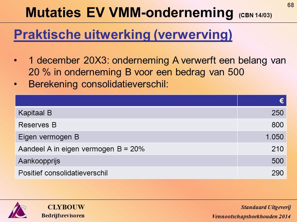 Mutaties EV VMM-onderneming (CBN 14/03) CLYBOUW Bedrijfsrevisoren Praktische uitwerking (verwerving) 1 december 20X3: onderneming A verwerft een belan