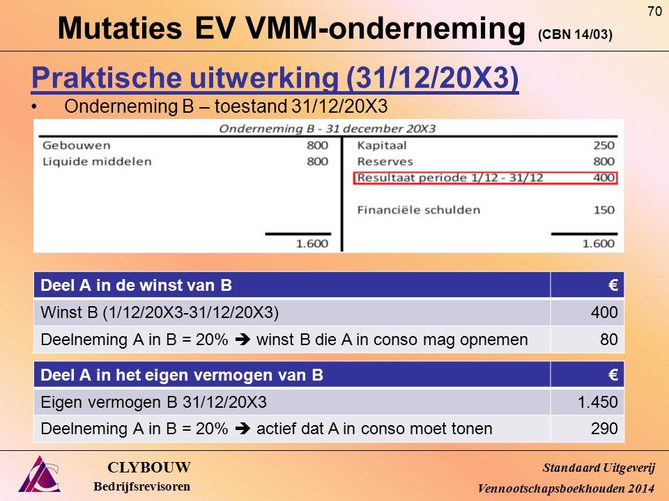 Mutaties EV VMM-onderneming (CBN 14/03) CLYBOUW Bedrijfsrevisoren Praktische uitwerking (31/12/20X3) Onderneming B – toestand 31/12/20X3 Standaard Uit