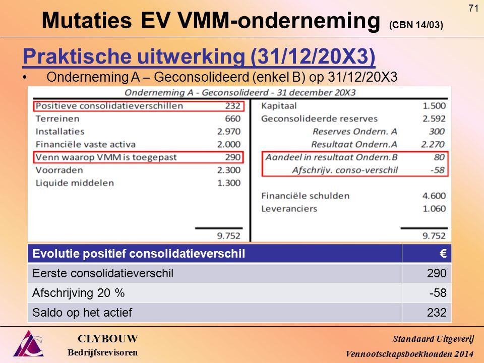 Mutaties EV VMM-onderneming (CBN 14/03) CLYBOUW Bedrijfsrevisoren Praktische uitwerking (31/12/20X3) Onderneming A – Geconsolideerd (enkel B) op 31/12