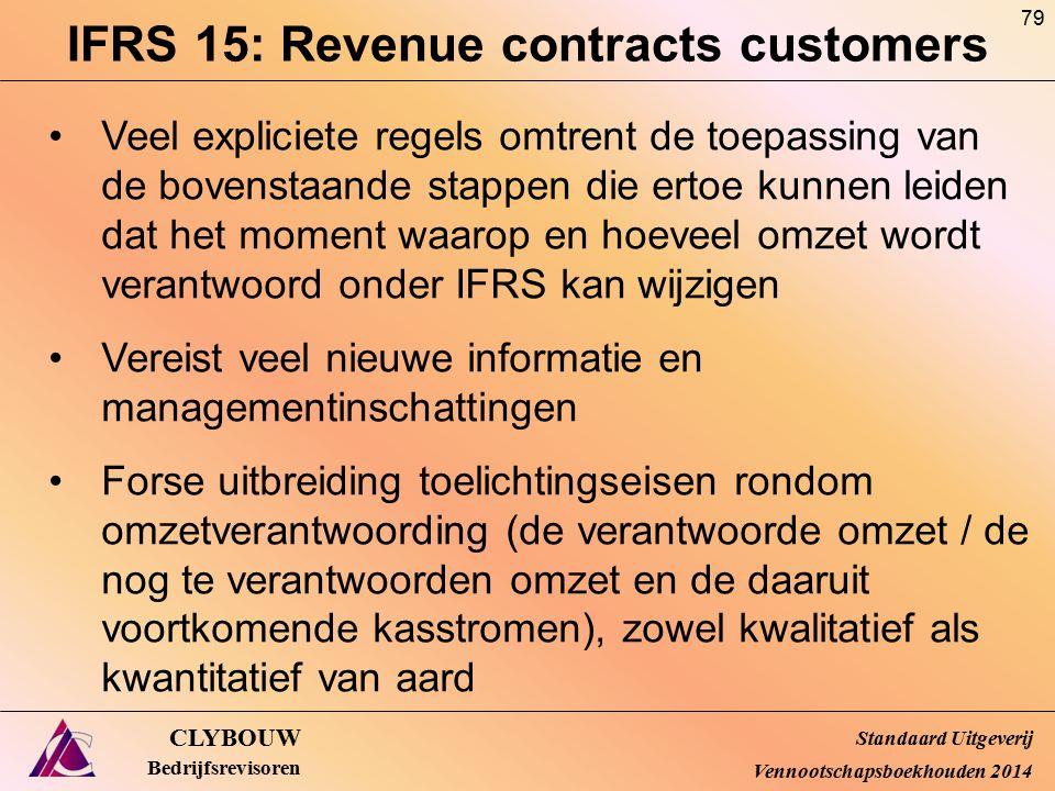 IFRS 15: Revenue contracts customers CLYBOUW Bedrijfsrevisoren Veel expliciete regels omtrent de toepassing van de bovenstaande stappen die ertoe kunn