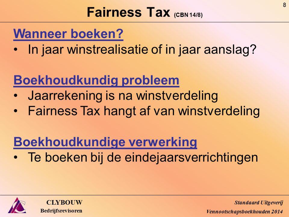 Fairness Tax (CBN 14/8) CLYBOUW Bedrijfsrevisoren Wanneer boeken? In jaar winstrealisatie of in jaar aanslag? Boekhoudkundig probleem Jaarrekening is