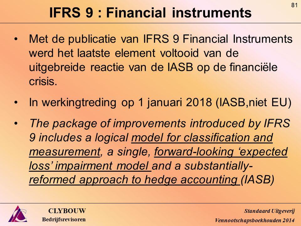 IFRS 9 : Financial instruments CLYBOUW Bedrijfsrevisoren Met de publicatie van IFRS 9 Financial Instruments werd het laatste element voltooid van de u