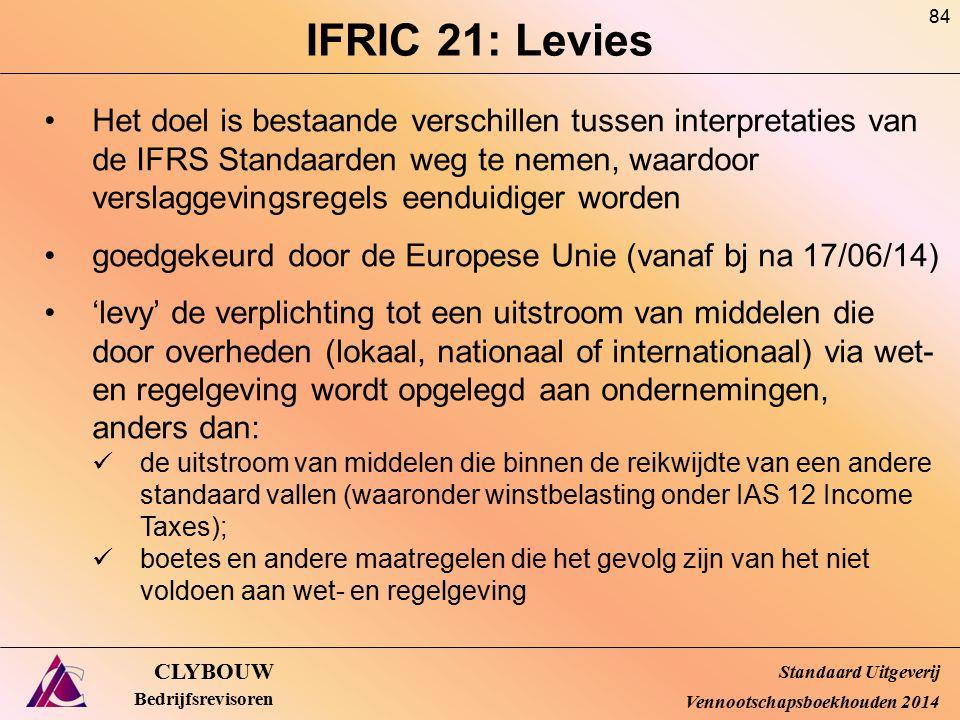IFRIC 21: Levies CLYBOUW Bedrijfsrevisoren Het doel is bestaande verschillen tussen interpretaties van de IFRS Standaarden weg te nemen, waardoor vers