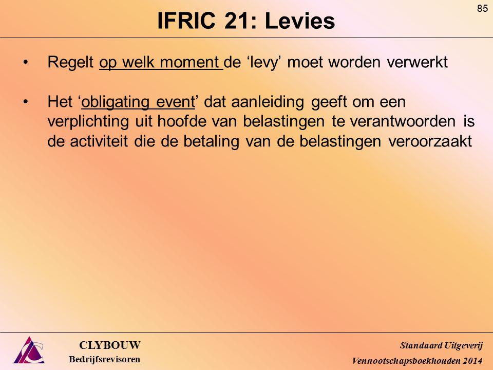 IFRIC 21: Levies CLYBOUW Bedrijfsrevisoren Regelt op welk moment de 'levy' moet worden verwerkt Het 'obligating event' dat aanleiding geeft om een ver