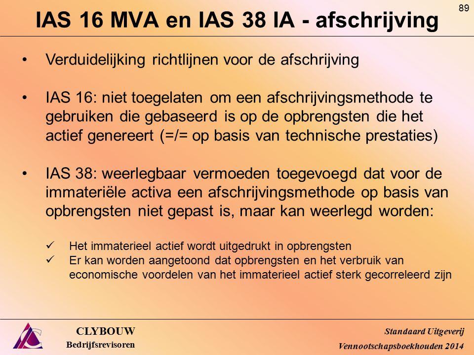 IAS 16 MVA en IAS 38 IA - afschrijving CLYBOUW Bedrijfsrevisoren Verduidelijking richtlijnen voor de afschrijving IAS 16: niet toegelaten om een afsch