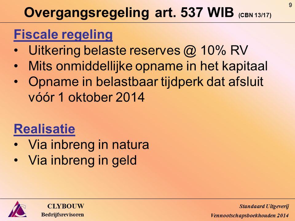 Overgangsregeling art. 537 WIB (CBN 13/17) CLYBOUW Bedrijfsrevisoren Fiscale regeling Uitkering belaste reserves @ 10% RV Mits onmiddellijke opname in